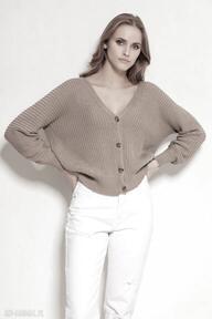 Bawełniany sweter na guziki - swe142 mocca swetry lanti urban