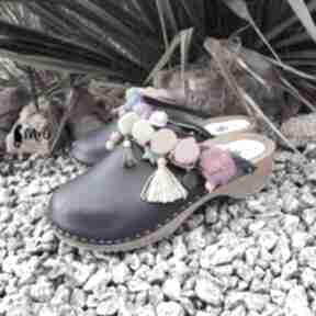 Niepowtarzalne, tęczowe boho chodaki buty mrosoutache chodaki