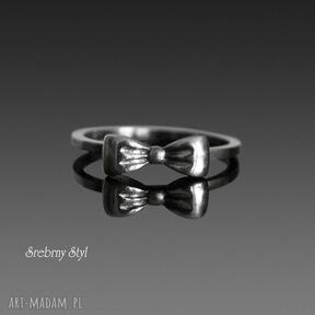 kokardkĘ srebro kokardka oksydowany minimalistyczny delikatny