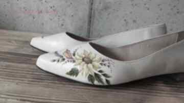 Baleriny jesienne buty swarne folk, malowane, słoneczniki