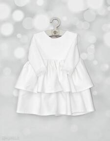 Sukienka do chrztu z falbanami i szyfonowa kokarda noeli chrztu