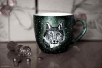 Kubek malowany - srebrny wilk kubki pracownia szafran wilk
