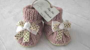 Buciki niemowlęce z kokardą tiny feet buciki, kapciuszki,