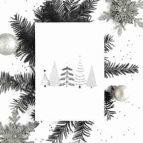Pod choinkę prezent: Kartka bożonarodzeniowa - choinki cardie