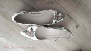Baleriny z góralskim materiałem - do szpica, rozmiar 38,5 buty