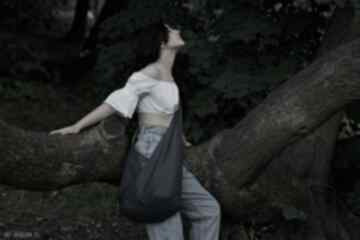 Granatowa torba hobo w stylu boho long boogi bag - do noszenia