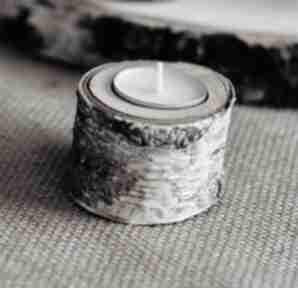 Świecznik brzozowy na 1 tealight drewniany pojedynczy świeczniki