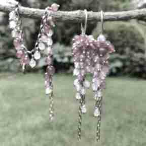 Fuksja i lawenda biżuteria onyksela jadeit, grona