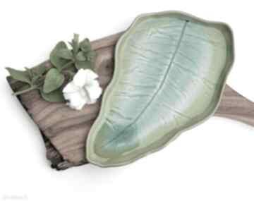 Patera talerz dekoracyjny liść turkusowo szmaragdowy ceramika