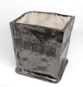 Duża donica złoto czarna ceramiczny prezent ozdoba handmade