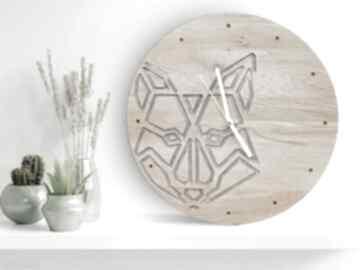 Zegar ścienny z drewna dębowego, żywica, wilk, prezent zegary