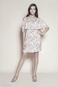Krótka sukienka hiszpanka - suk201 różowy wzór sukienki lanti