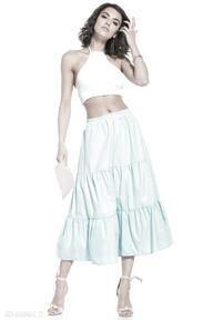 Spódnica maxi z dwoma falbanami, t339, jasnoniebieska spódnice