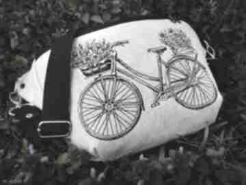 Nerka xxl rower nerki zapetlona nitka lniana torebka, haft