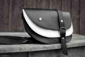 Aria nerka torebka skórzana czarna biała mini czajkaczajka nerka