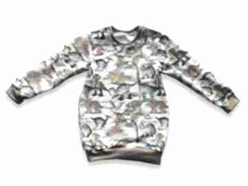 Dinozaury długa bluza dla dziewczynki, prosta tunika z dresówki