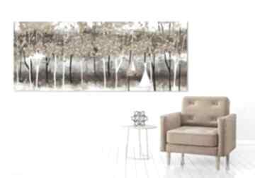 Nowoczesny obraz do salonu drukowany na płótnie z drzewami