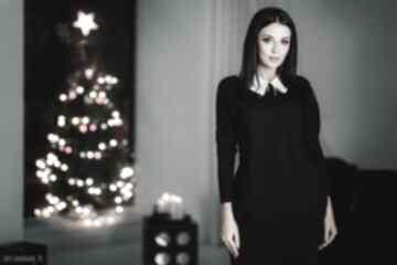 Sukienka 2w1 z kołnierzykiem w komplecie, t142, czarna sukienki