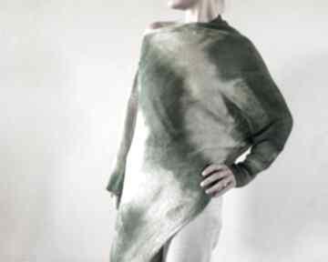 Asymetryczna lniana bluzka natura&zieleń bluzki anna damzyn bluzka