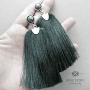 Kolczyki z chwostami w emeraldowej zielenipi bead story sztyfty