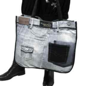 Duża torba upcykling jeans jack & jones 70 na ramię majunto recykling, upcykling