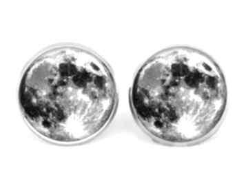 Pełnia księżyca kolczyki sztyfty wkrętki księżyc kosmos galaxy