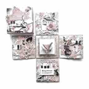 Exploding box - muzyczny scrapbooking kartki iride handmade