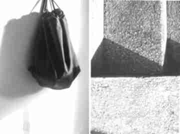 Worek black handverk worek, plecak, design, minimalzim, czerń,