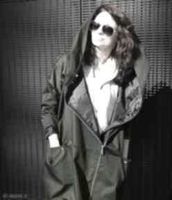 Khaki płaszcz oversize ogromny kaptur na jesień rozmiar xs