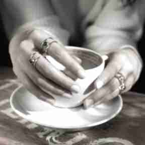 Pierścionek srebrny z naturalnym agatem zielonym - otwarty