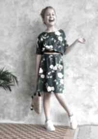 Sukienka zielona w kwiaty sukienki hanka sukienka, midi, wiskoza