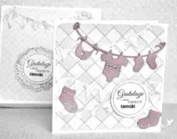 Gratulacje - córeczka: scrapbooking kartki wrzosowisko narodziny
