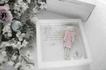 Anioł stróż płaskorzeźba prezent spersonalizowany na chrzciny