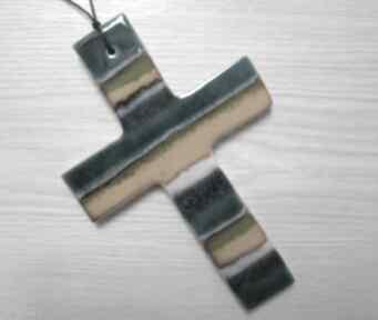 Kolorowy krzyż ceramiczny dekoracje ceramika ana krzyżyk