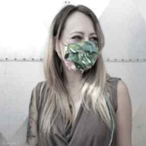 Maseczka ochronna kolorowa maska liście flaming bawełna godeco