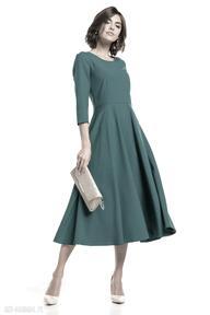 Elegancka sukienka maxi z zamkiem krytym, t327, szmaragdowa