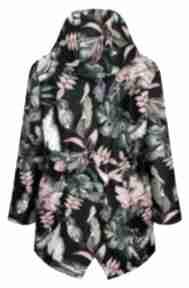 Jesienna kurtka parka w ptaki, ciepła przeciwdeszczowa płaszcze
