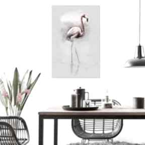 Grafika na płótnie flaming spacer 80 x 120, elegancki minmalizm