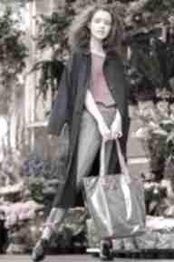 Torba shopper szara z różowymi uchwytami fuksja na ramię