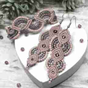 Elegancki komplet biżuterii w odcieniach czerwieni i srebra