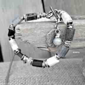 Niebieska - bransoletka 01 arvena srebro oksydowane, akwamaryn