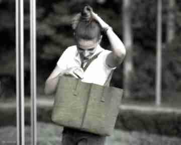 Duża torebka -filcowa torba minimalistyczna - zielona na ramię