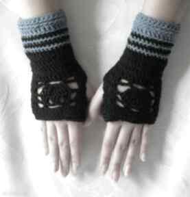 rękawiczki. mitenki rękawiczki ażur paski wzór