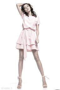 Sukienka z podwójną spódnicą, t268, różowa sukienki tessita