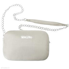 Skórzana torebka bransoletka beżowa mini tenaro torebka