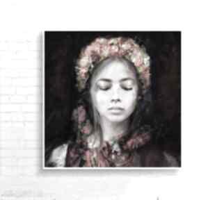 """Obraz na płótnie """"lady folk"""" 100x100 cm krzanooart obraz"""