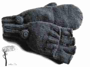 MonDu. rękawiczki mitenki dziergane jednopalczaste granatowe