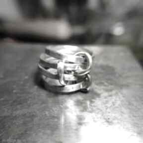 Zestaw łączonych obrączek angry cat zestaw, surowy, srebro