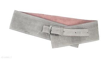 Skórzany pasek gorsetowy dwustronny - szary z czerwonym paski