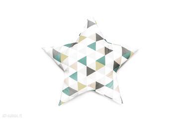 Poduszka gwiazdka - trójkąty zielone pokoik dziecka lilifranko